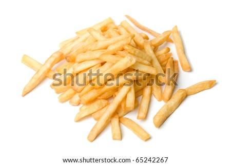 French fries potatoes on a white background