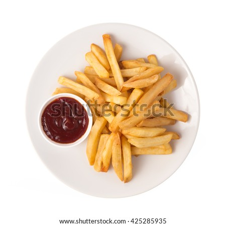 French fries potatoes with ketchup on a dish isolated on white background - stock photo