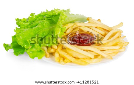 French fries, sauce and lettuce isolated on white background. - stock photo