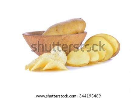 French fries, sliced on a white background. - stock photo