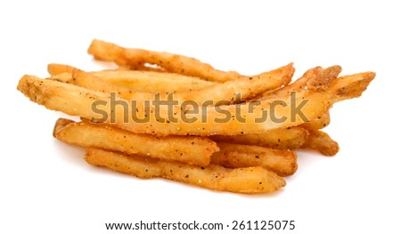 French fries stack up on white background