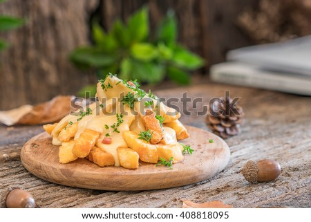 french fries with cheese on wooden  - stock photo