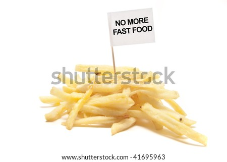 "french fries with flag ""no more fast food"" separated"