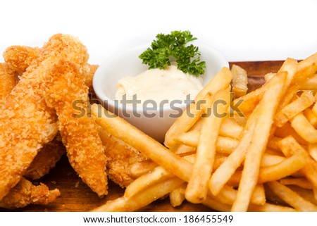 French Fries with fried chicken