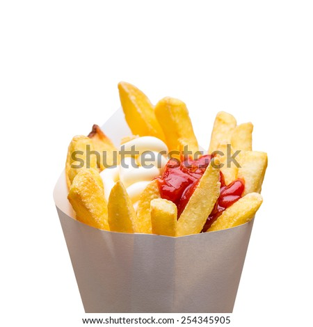 French fries with ketchup and mayonnaise isolated on white - stock photo