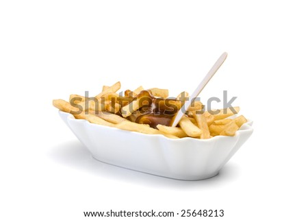 french fries with ketchup and pick in ceramic bowl isolated