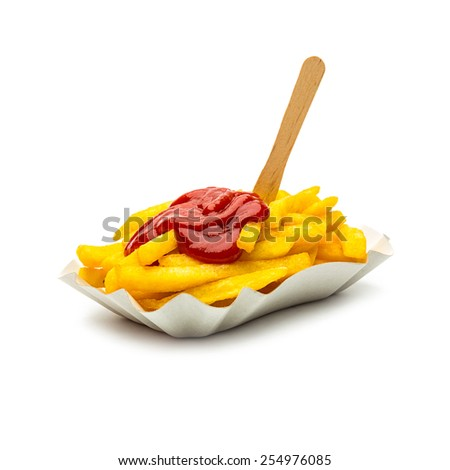 french fries with ketchup on white background - stock photo