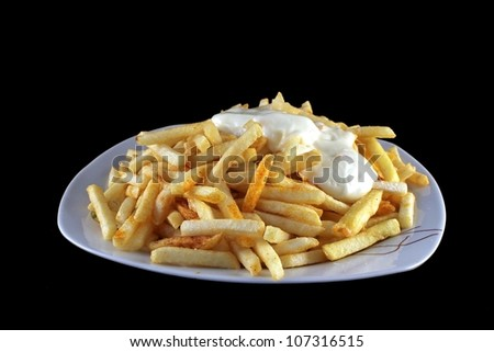 french fries with Mayonnaise - stock photo