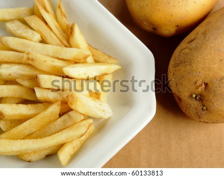 french fries with potato - stock photo