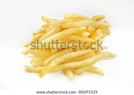 French fry against on white