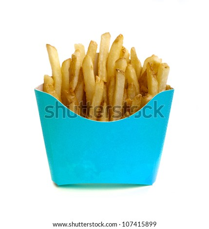 French fry in blue box isolated on white background