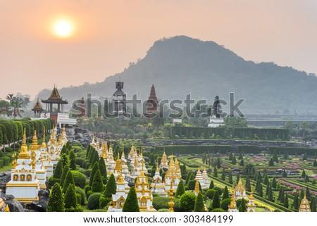 French garden of Nong Nooch Tropical Botanical Gardenat sunrise , Pattaya, Thailand - stock photo