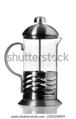 French glass pot isolated on white background - stock photo