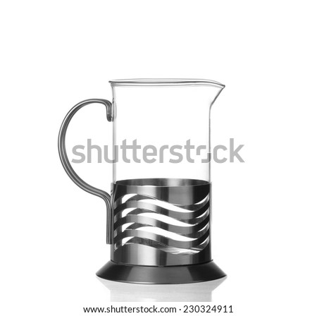 French glass pot isolated on white background