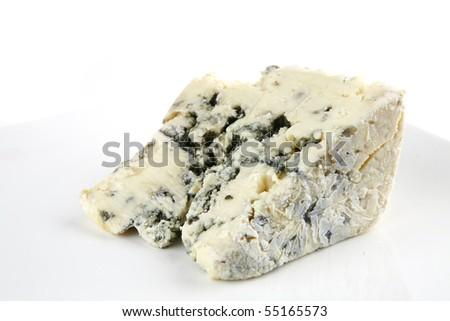 french gorgonzola soft cheese on white dish - stock photo