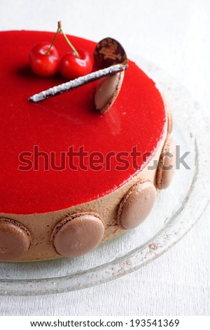 French gourmet cherry-chocolate mousse cream cake  - stock photo