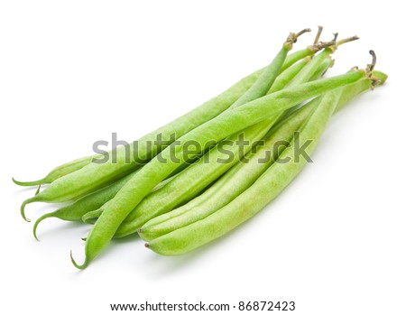 French green bean vegetable isolated on white