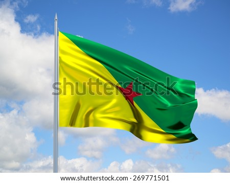 French Guiana 3d flag floating in the wind with a blue sky in the background