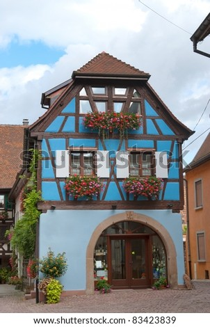 French half-timbered house in Alsace, France - stock photo