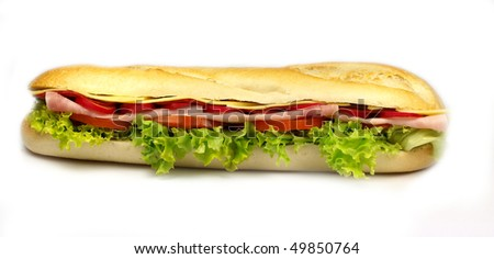 French healthy baguette on white background - stock photo
