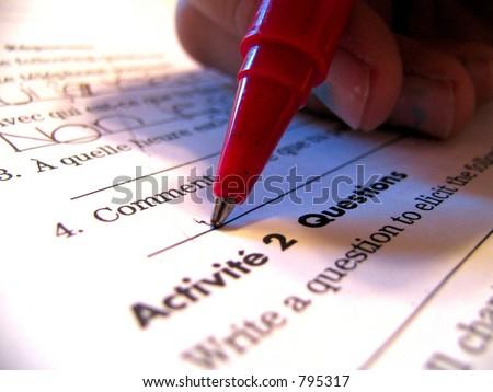 french homework - stock photo