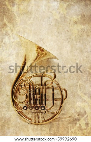 french horn - stock photo