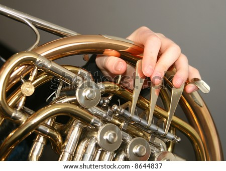 French horn being played