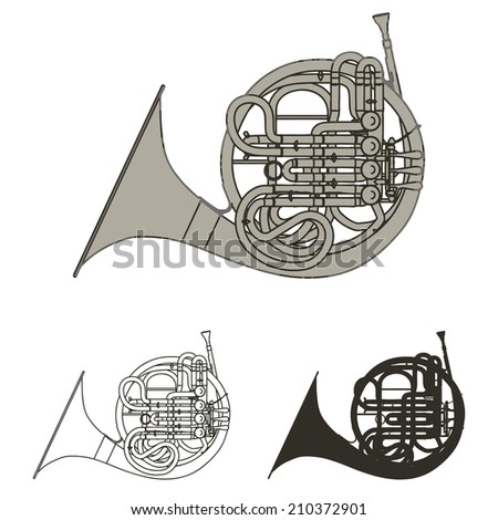 french horn isolated on white - stock photo