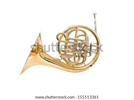 French horn on a white background - stock photo
