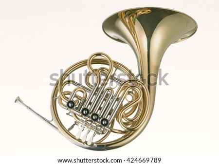 French Horn on white background - stock photo