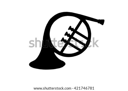 French horn silhouette isolated with clipping path at this size - stock photo