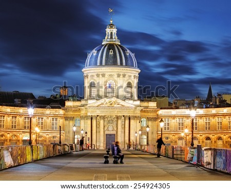 French Institute (Institute de France) at night, Paris - stock photo