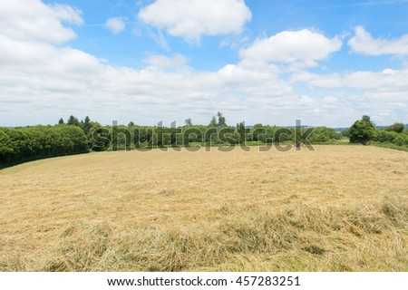 French landscape with hay in the fields - stock photo