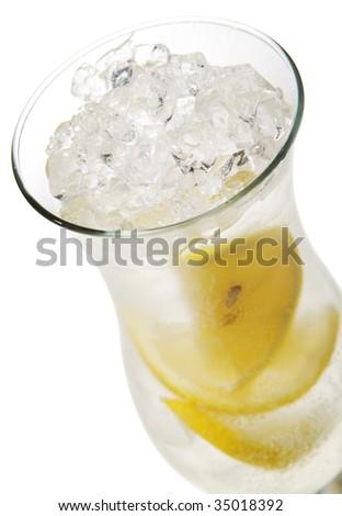 French Lemonade - Alcoholic Cocktail with Soda and Lemon. Isolated on White Background - stock photo