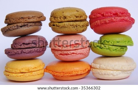 French macaron cookies in various flavours and colours - stock photo