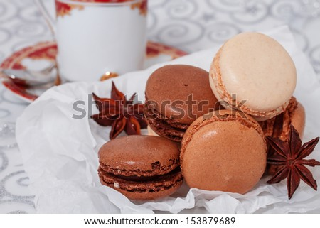 French macarons with a cup of coffee