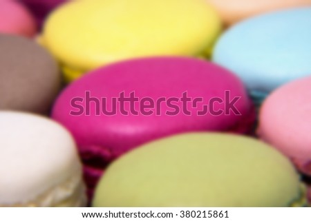 French Macaroons background. Intentionally blurred post production.