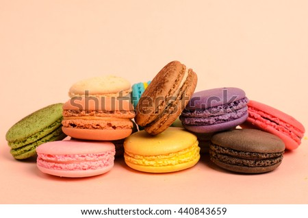 French macaroons ,Dessert and pink background for background.