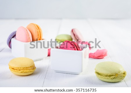 French Macaroons On Wood Table