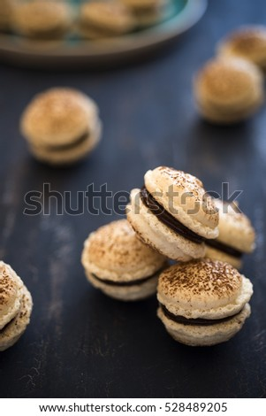French macaroons with cocoa and chocolate