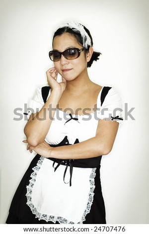 French Maid in dark sunglasses - stock photo
