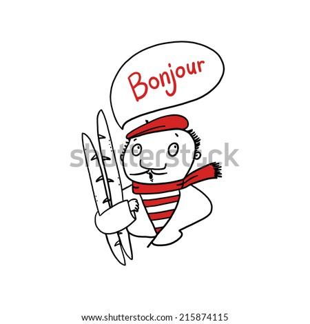 French man Holding Baguettes illustration - stock photo
