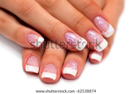 french manicure and diamonds - stock photo
