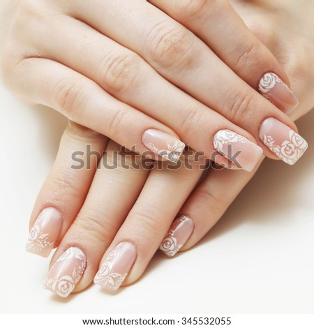 french manicure isolated on white background