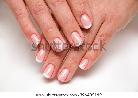 French manicure with pink peas