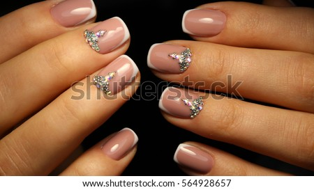 French Manicure With Rhinestones For Ladies