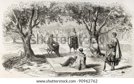 French military and Oued-el-Kebir tribes meeting, Algeria. Created by Janet-Lange after Bocher, published on L'Illustration, Journal Universel, Paris, 1858 - stock photo