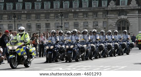 French motorcycle police. - stock photo