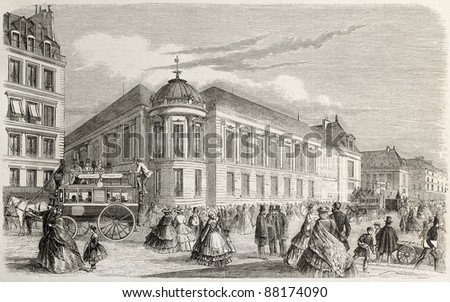French national library (Bibliotheque imperial) in 1860. Created by Delannoy, published on L'Illustration, Journal Universel, Paris, 1860 - stock photo
