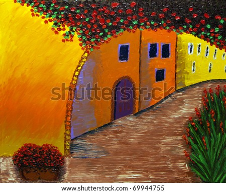 French old town street - Original oil painting of a medieval street of the old French town, Provence - stock photo